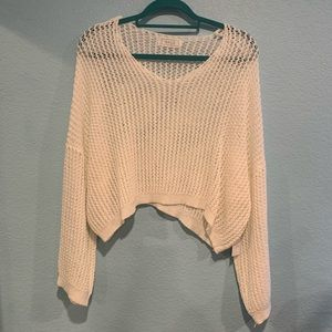 SAGE White Knit Oversized Sheer Sweater S